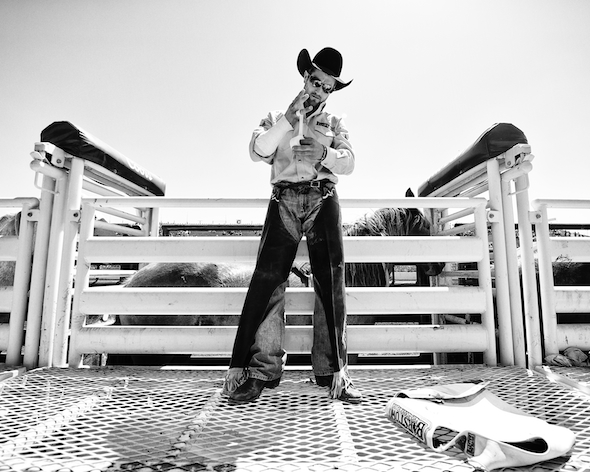 Bareback rider Jared Smith of Cross Plains, TX prepares to ride at the Clovis Rodeo in Clovis, CA.