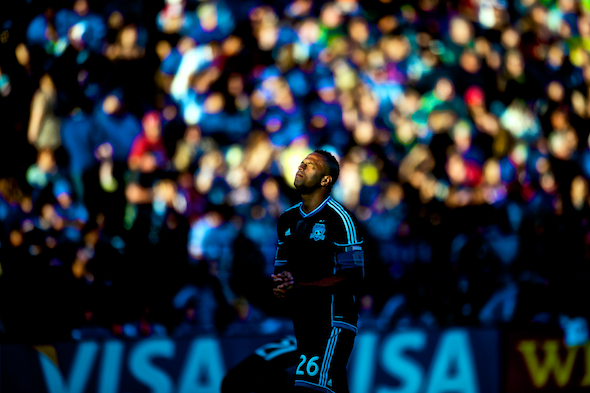 Earthquakes defender Victor Bernardez walks onto the field before the MLS match between the San Jose Earthquakes and Seattle Sounders FC at Buck Shaw Stadium in Santa Clara, CA.